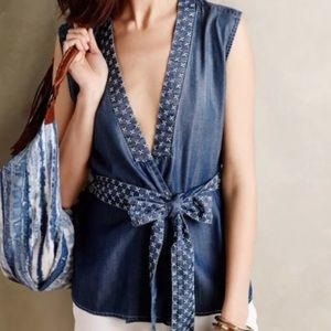 Anthro Holding Horses Chambray Stitched Wrap Top